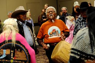 Havasupai demonstrate against uranium mining in the Grand Canyon.