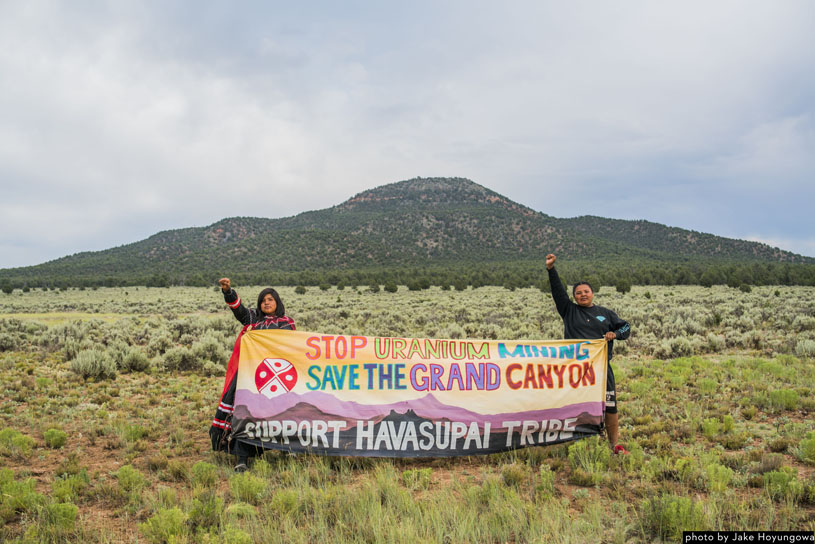 Supai youth protest uranium mining at Red Butte. Photo by Jake Hoyungowa.