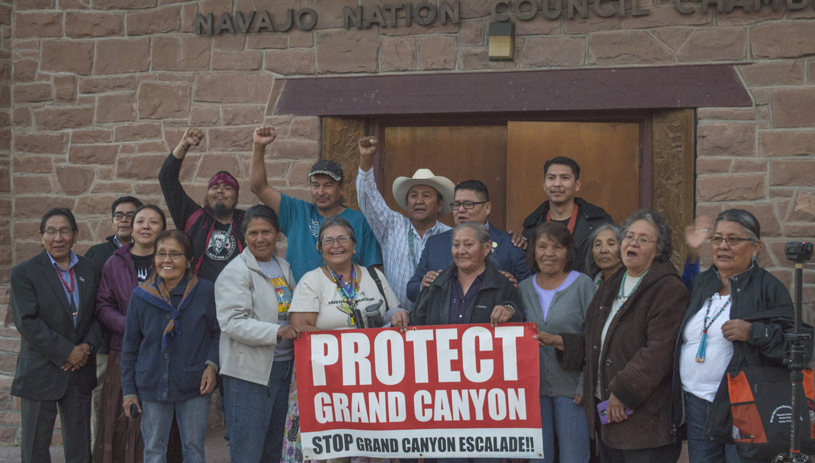 Save the Confluence families outside the Navajo Nation Council after the decisive vote.
