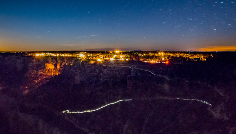 Lights on the South Rim of the Grand Canyon. Photo by Pete McBride