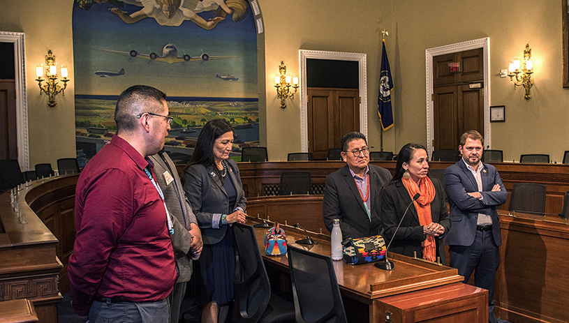 Rep. Haaland with tribal leaders in the House of Representatives in March 2019. Tim Peterson