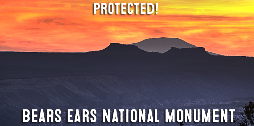 Bears Ears National Monument created Decemner 28, 2016