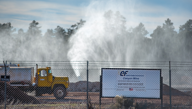 Water cannons shooting water into the air at Canyon Mine to speed up evaporation. BLAKE MCCORD