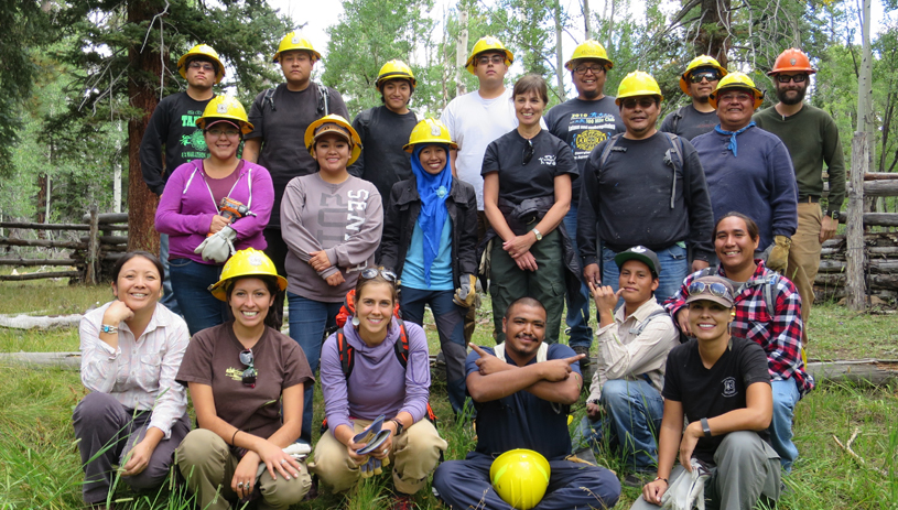 The crew, with Kaibab National Forest Supervisor Heather Provencio, standing, sixth from left.