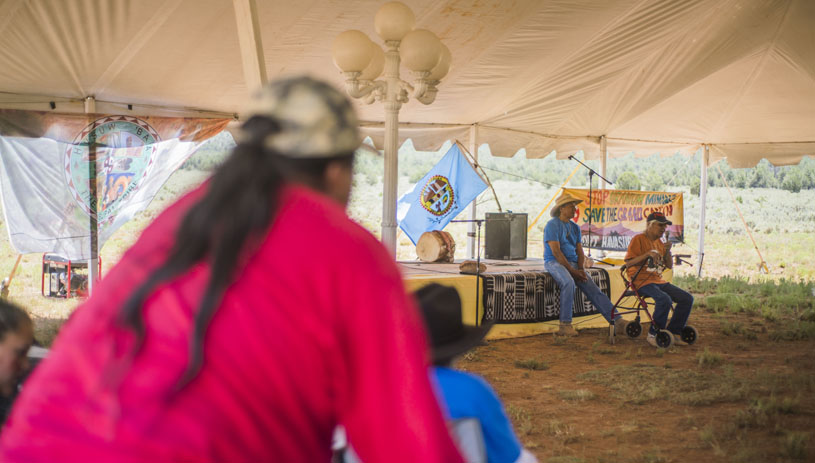 Rex Tilousi addresses the 2017 gathering at Red Butte. Photo by Jake Hoyungowa