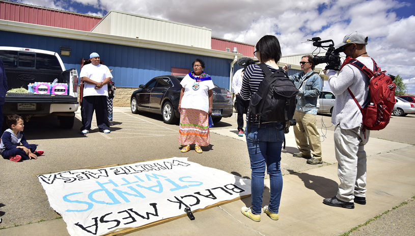 Ute Mountain Ute elder Thelma Whiskers addresses reporters before the spiritual walk. TIM PETERSON