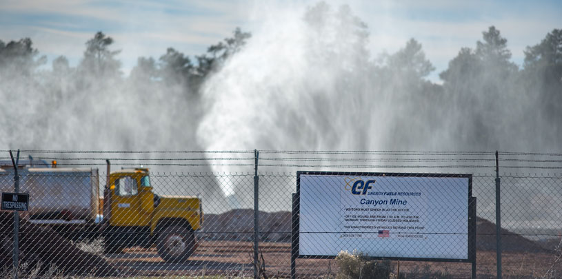 Canyon Mine sprays radioactive water in the air