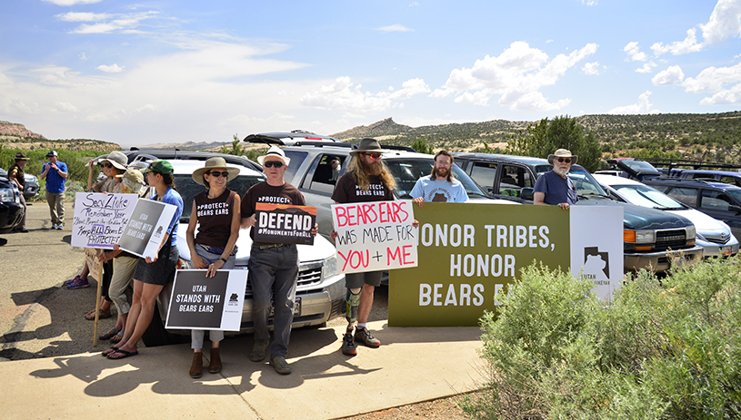 Bears Ears supporters waiting for Zinke. Photo by Tim Peterson