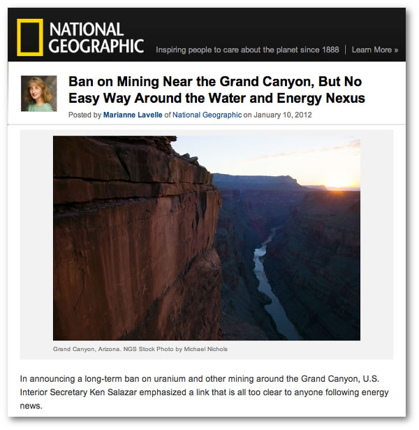 National Geographic Ban on Mining Near Grand Canyon