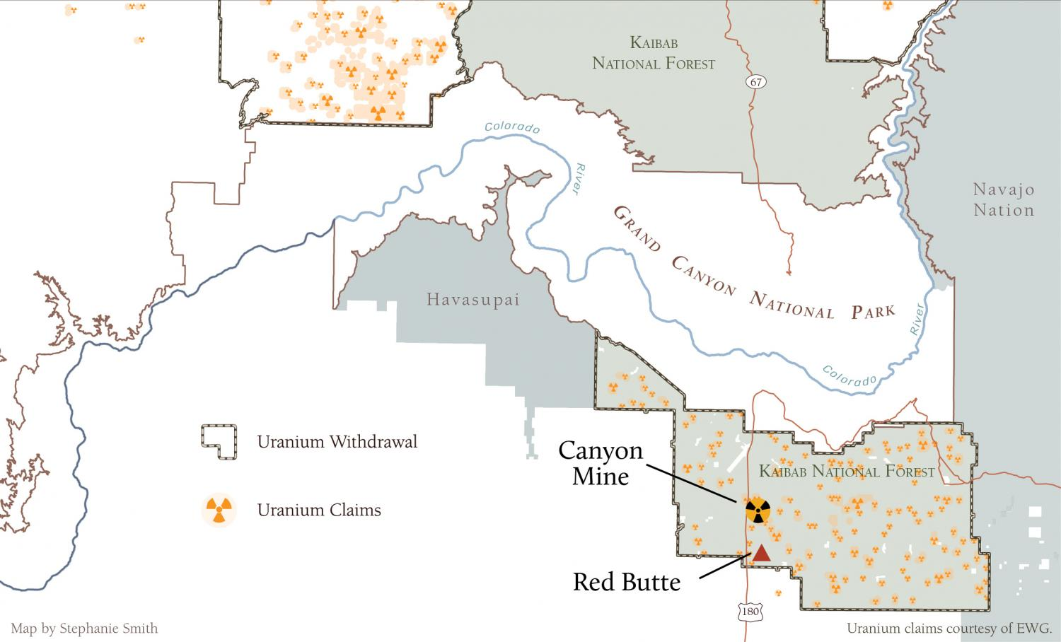 Map of Red Butte surrounded by uranium claims.