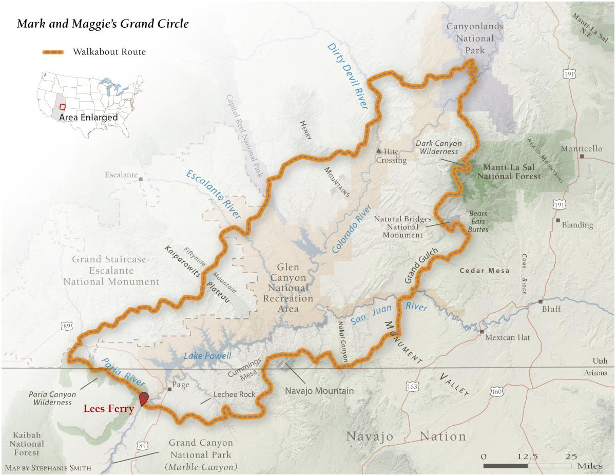 A map of Mark Udall's walkabout