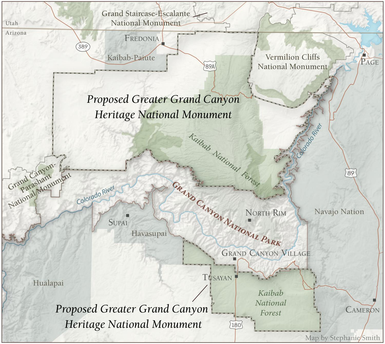 Map of the Proposed Greater Grand Canyon Heritage National Monument