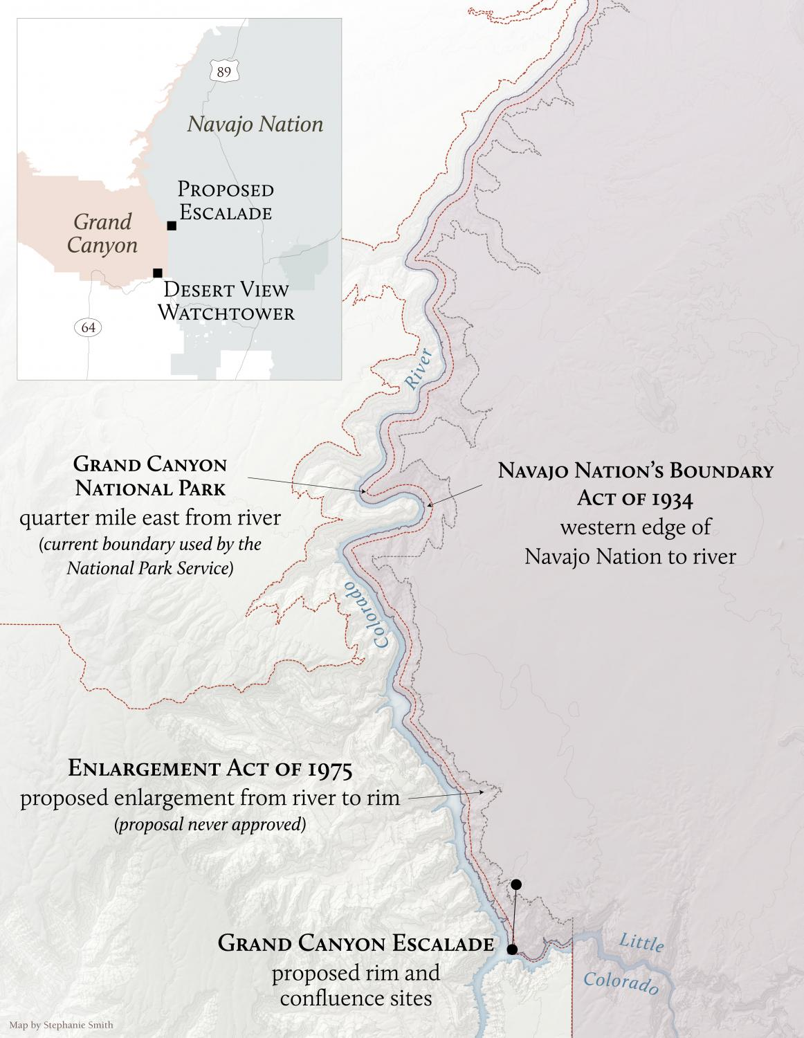 Map of Grand Canyon National Park western boundary through the years.