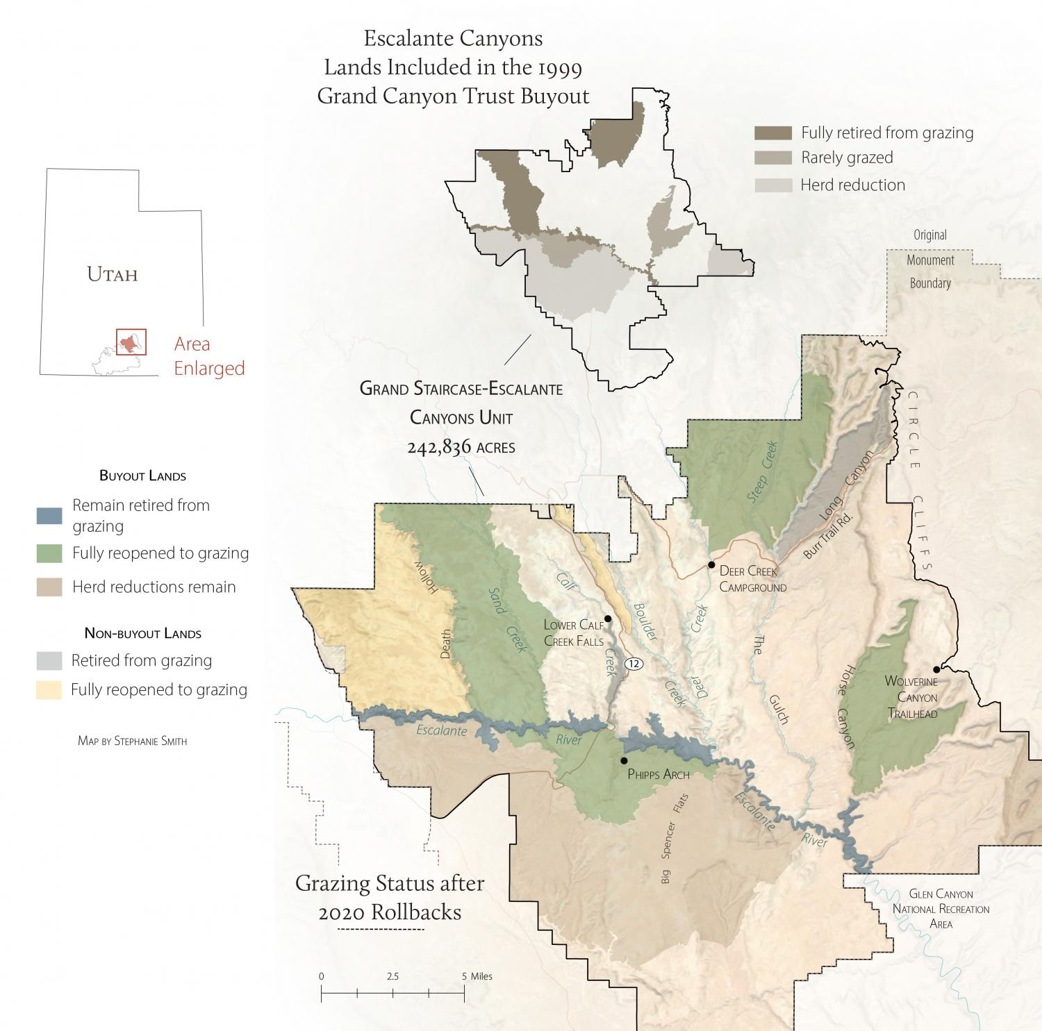 Map of the 2020 grazing status changes in Grand Staircase-Escalante National Monument.