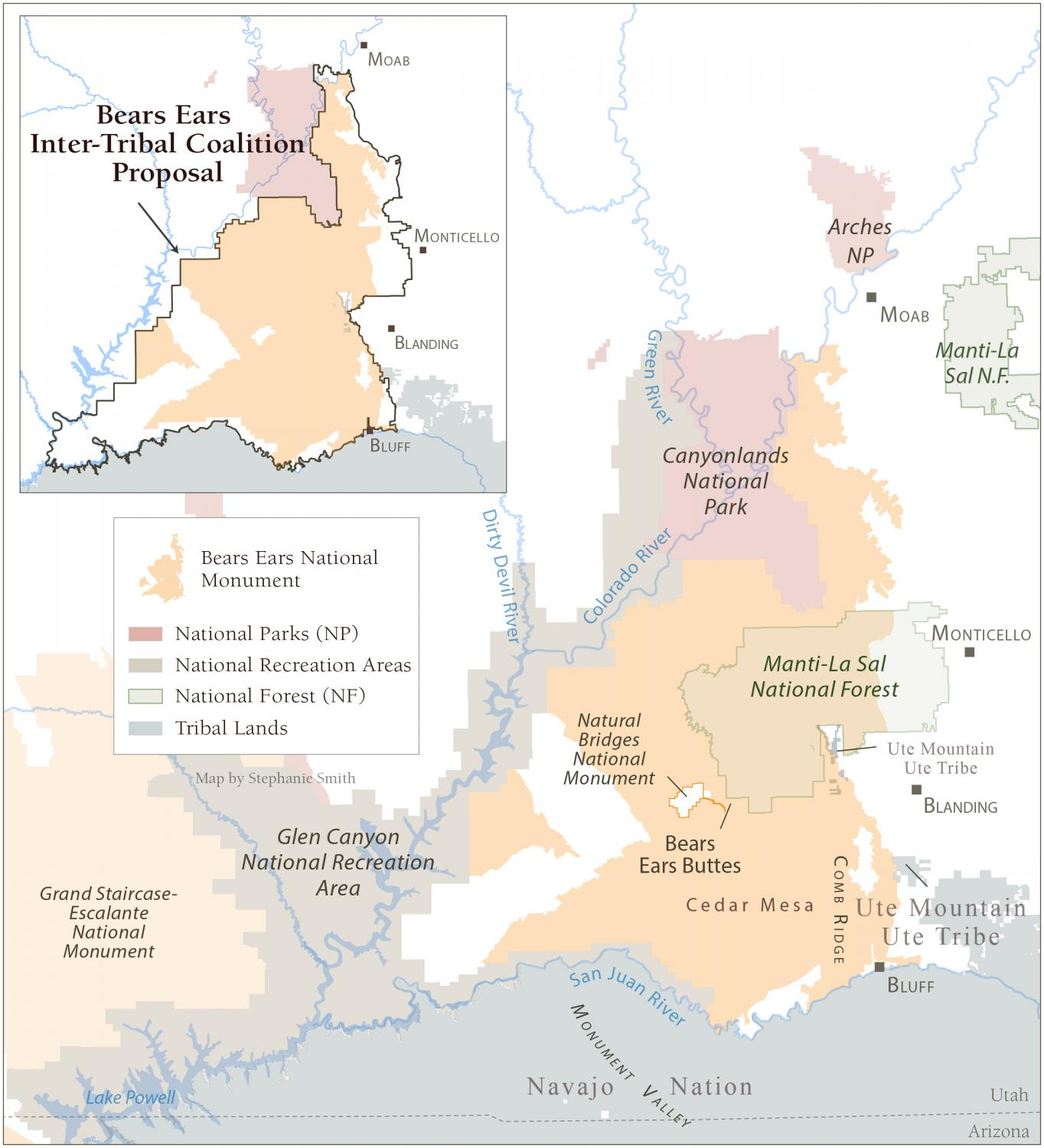 Boundary Comparison Map of Bears Ears National Monument