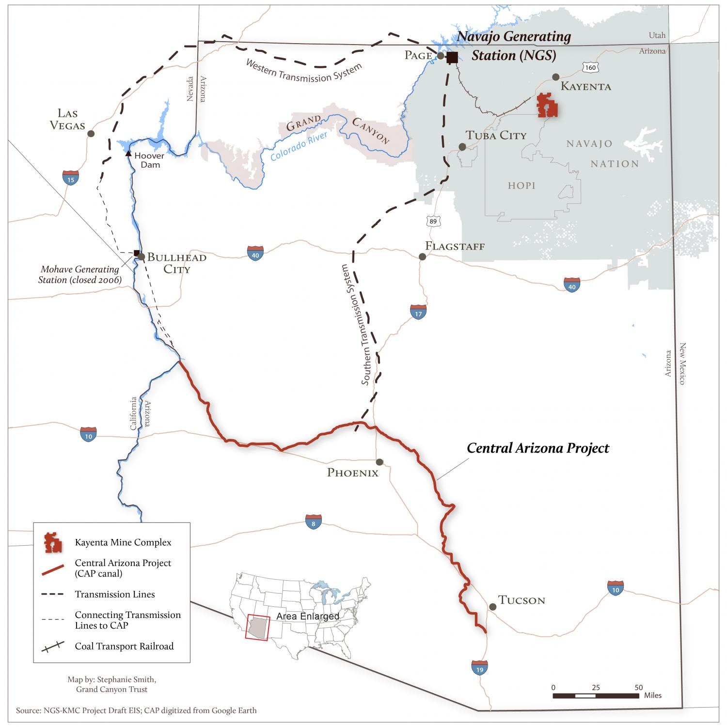Map of Navajo Generating Station and the CAP canal