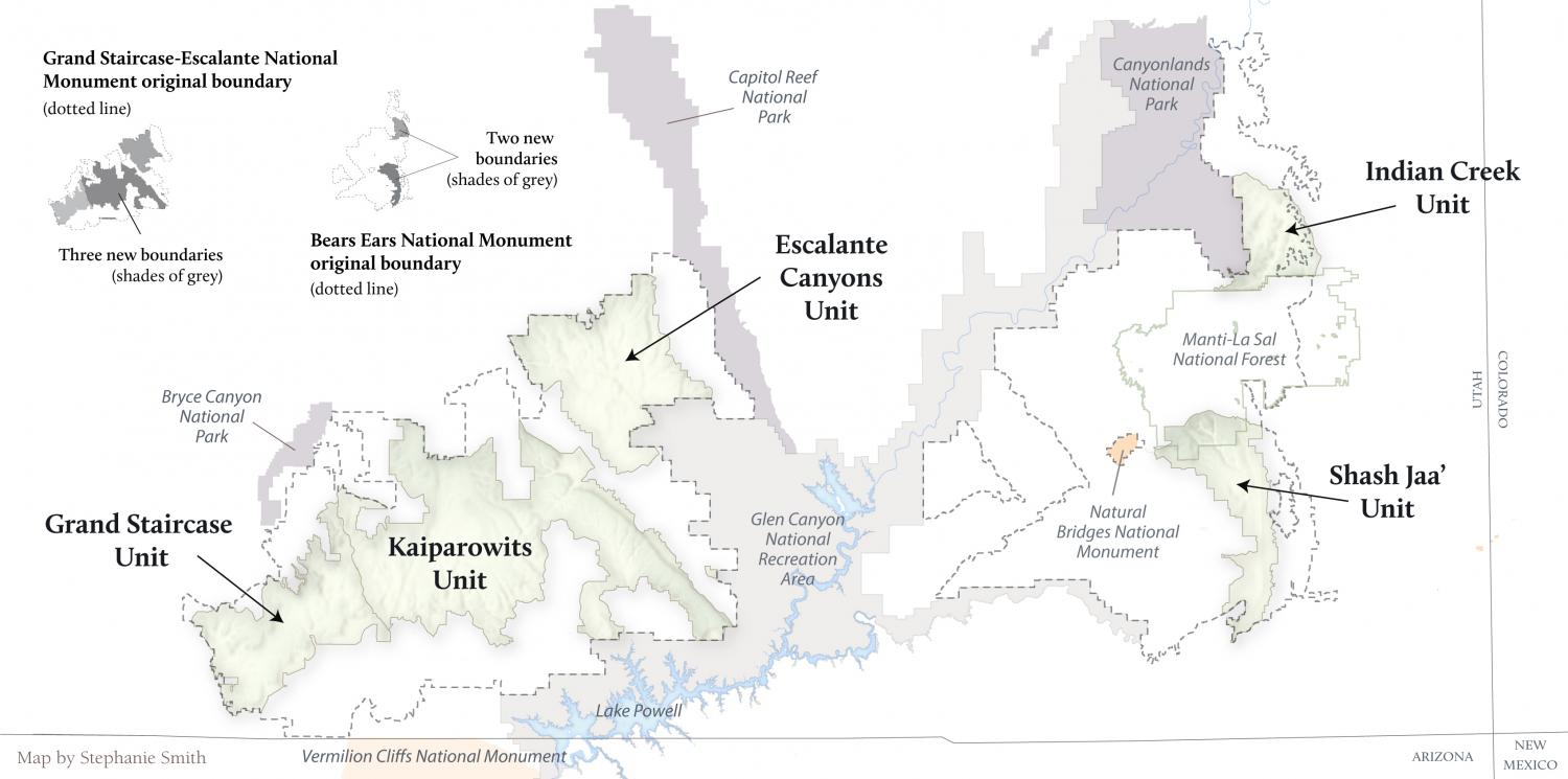 Map of Trump's changes to Bears Ears and Grand Staircase-Escalante National Monuments.