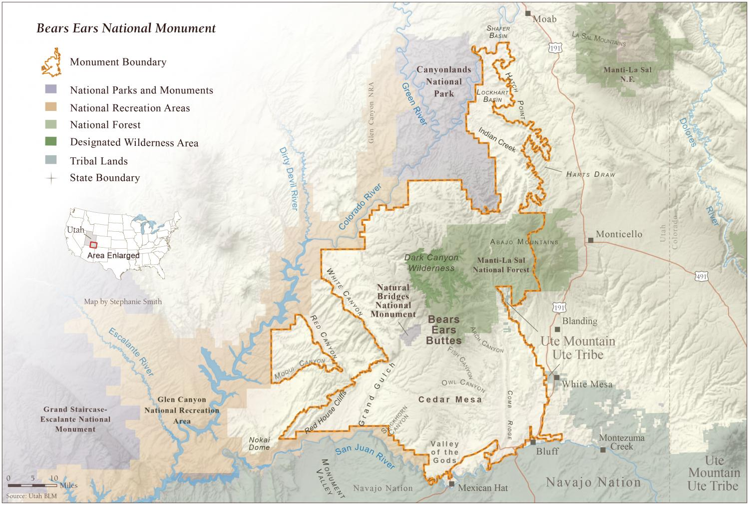 Map of the Bears Ears National Monument