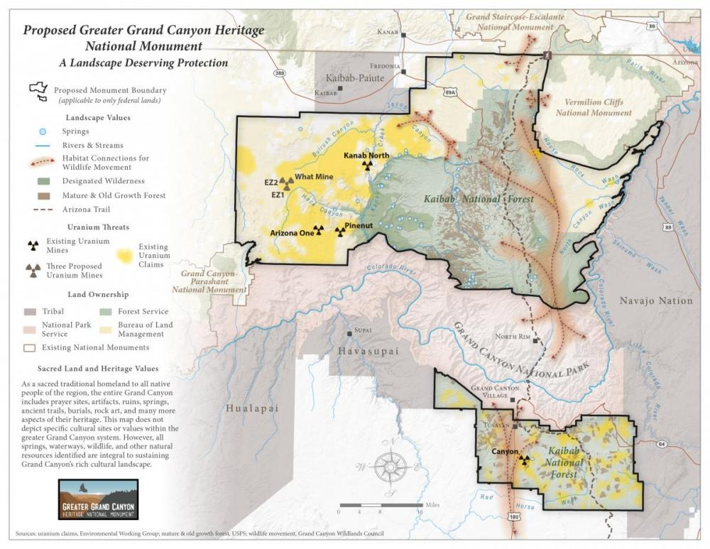 Greater Grand Canyon Heritage National Monument proposal map