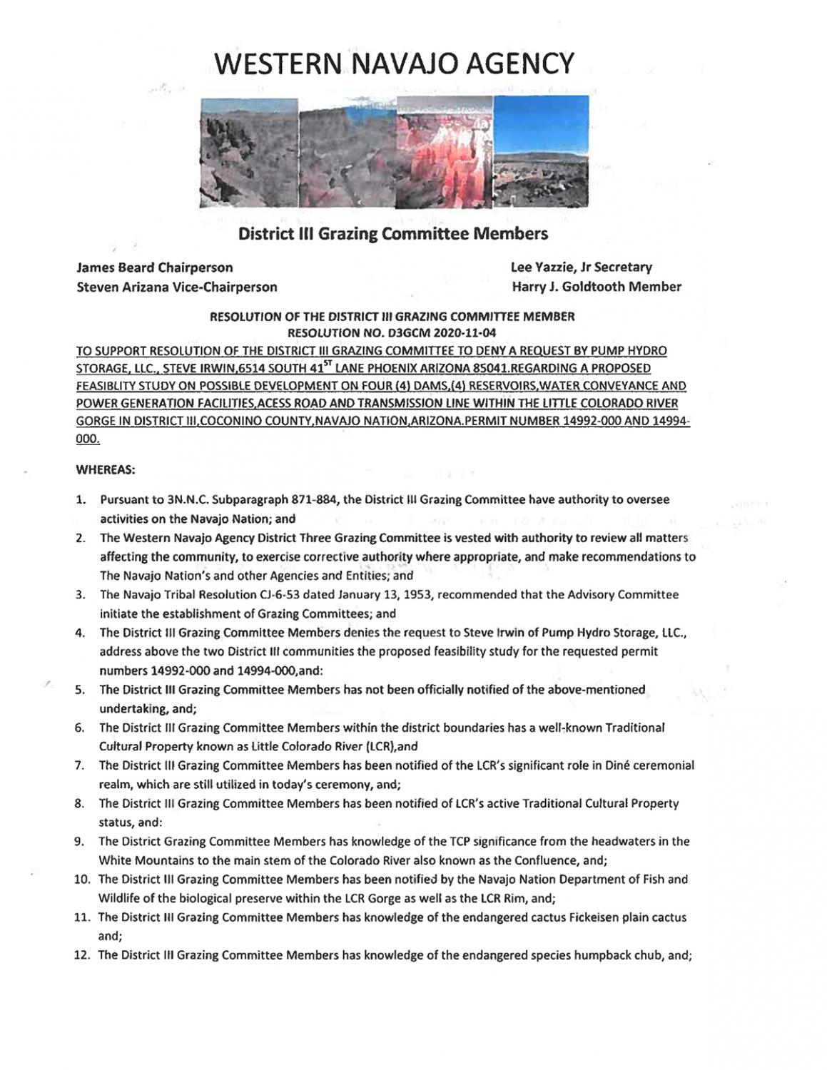 District III resolution against pumped hydro storage projects