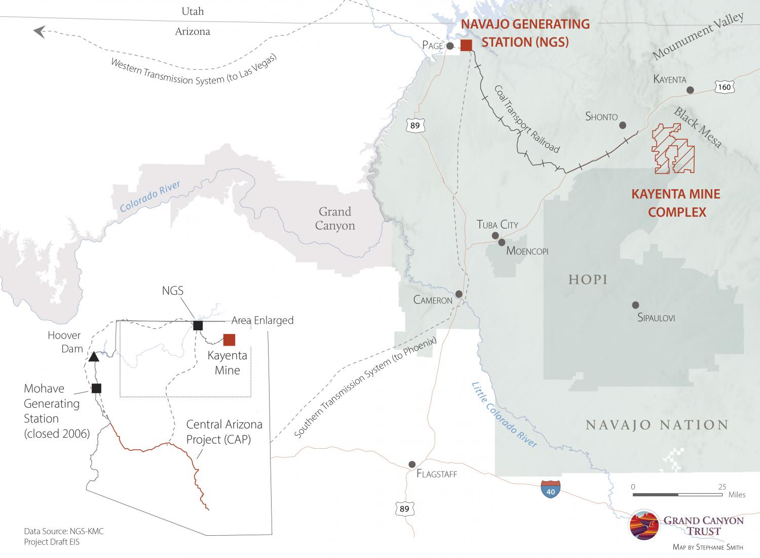 Map of NGS, Kayenta Mine Complex, and Central Arizona Project