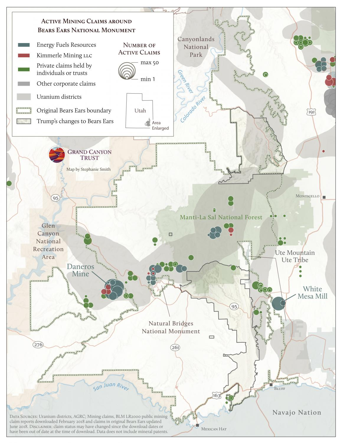 Map of active mining claims around Bears Ears with ownership data