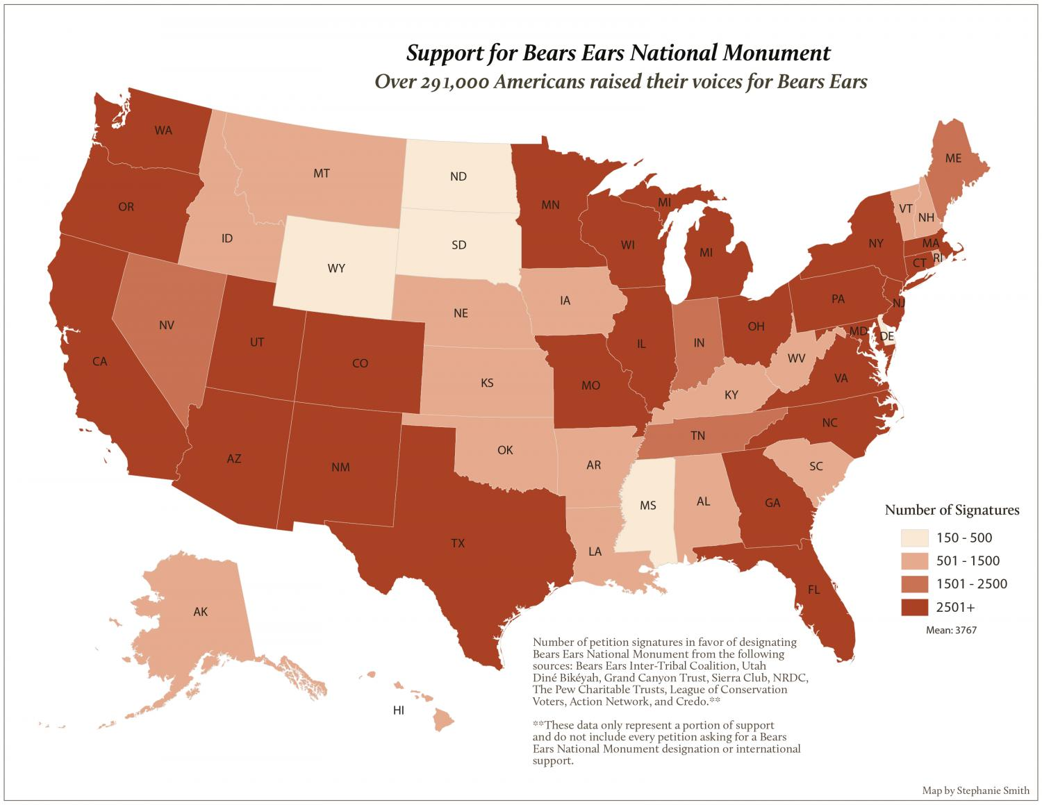 Map of U.S. support for Bears Ears National Monument