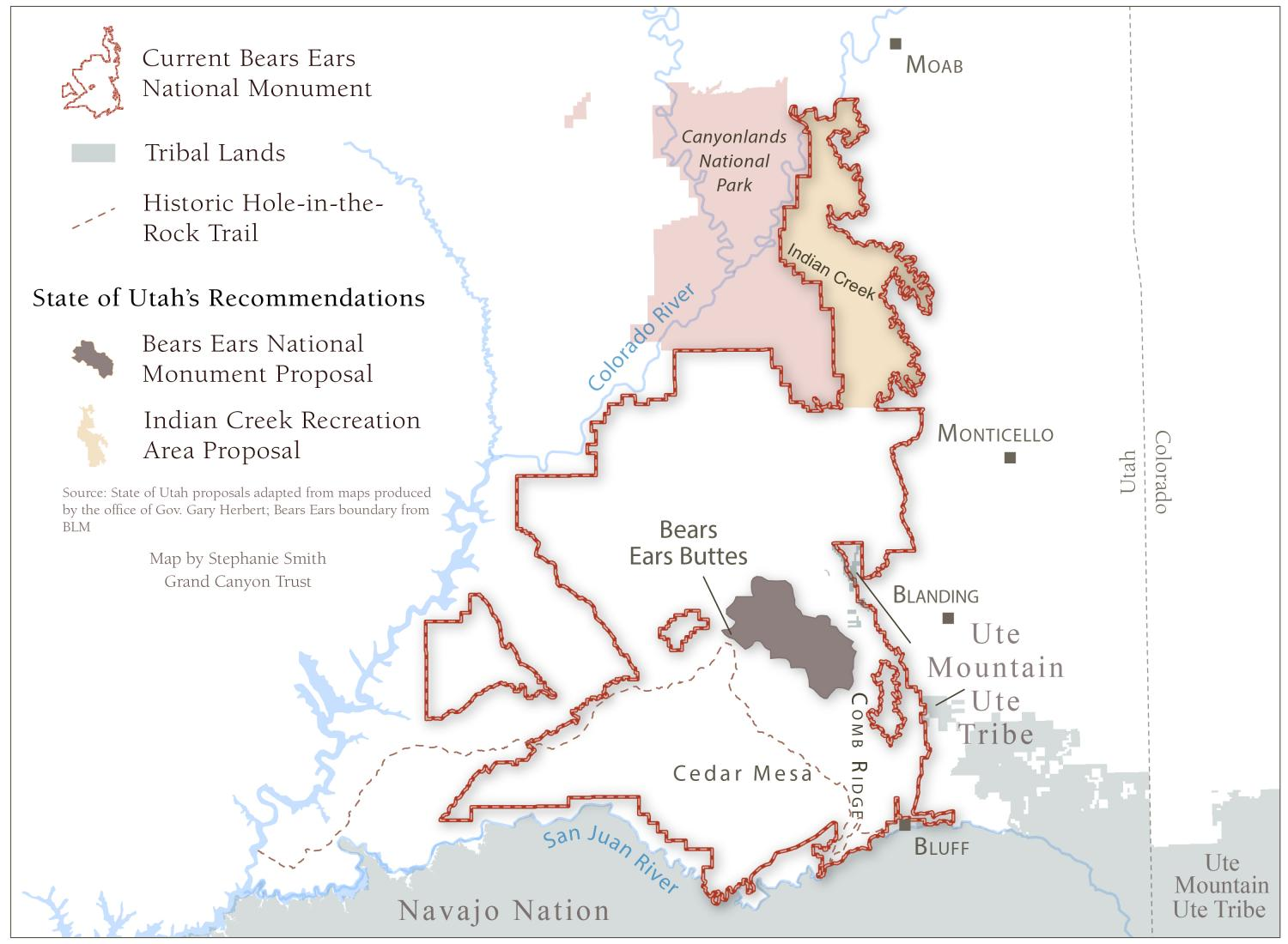 Map of proposed cuts to Bears Ears National Monument