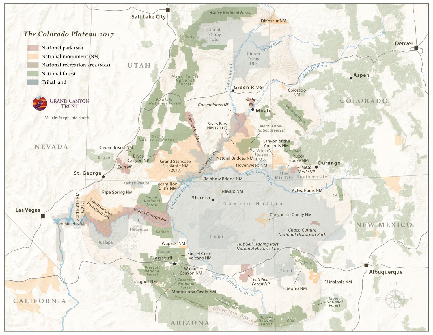 Map of the Colorado Plateau (2017 Edition) | Grand Canyon Trust Map Of Colorao on
