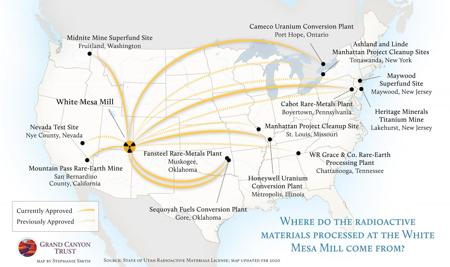 Map of where radioactive materials processed at White Mesa Mill come from.