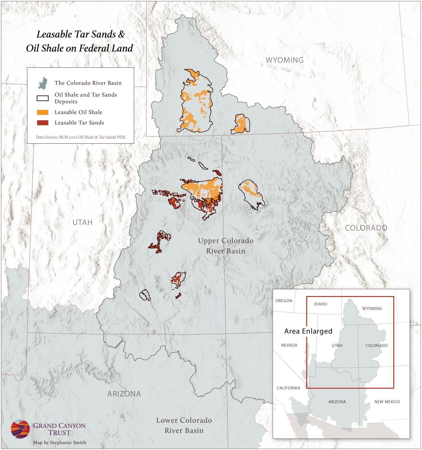 Leasable Tar Sands & Oil Shale on Federal Lands Map | Grand Canyon Trust