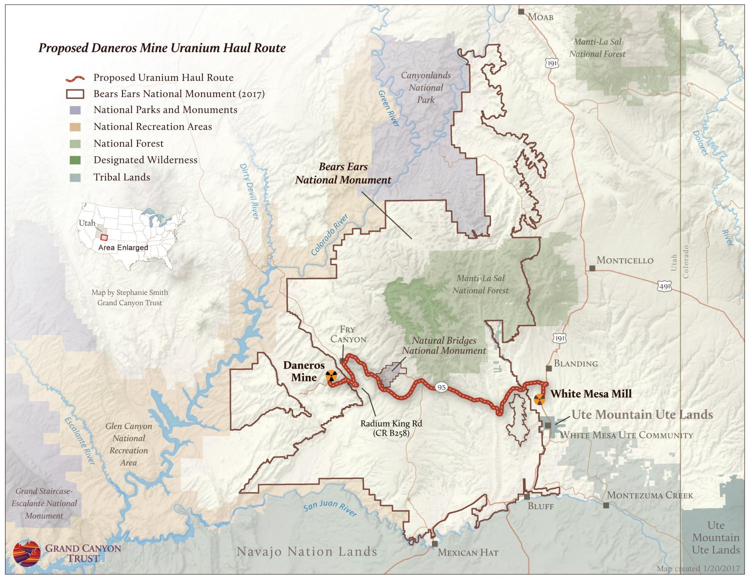 Proposed uranium haul route from Daneros Mine to White Mesa Mill.