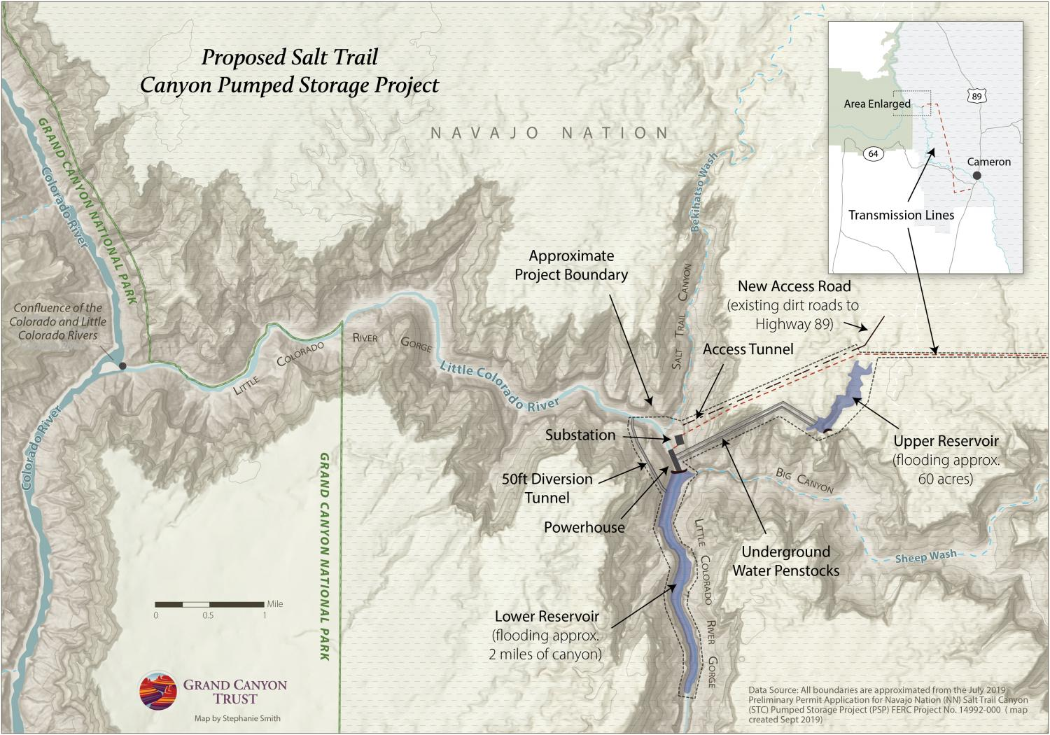 A detailed map of the proposed dams. Credit: Stephanie Smith