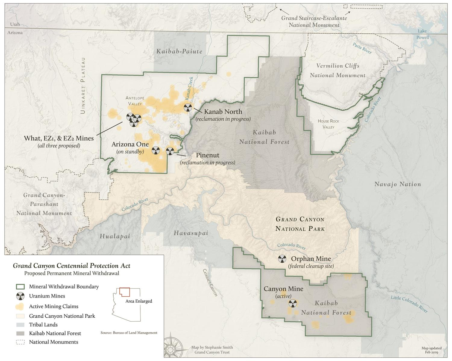 Map of uranium claims in Grand Canyon withdrawal area.