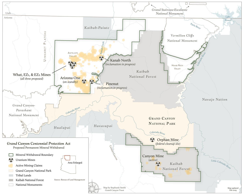 Map Of Arizona Grand Canyon.Grand Canyon Centennial Protection Act Uranium Claims Map Grand