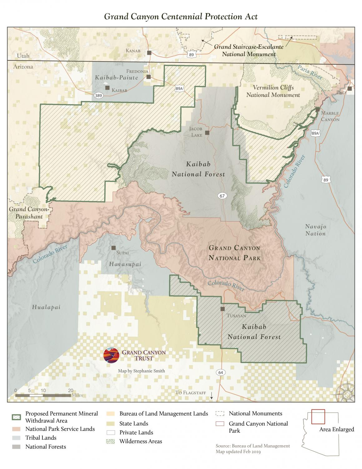 Grand Canyon Centennial Protection Act Land Ownership Map