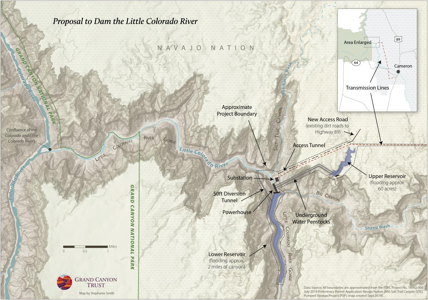 Map of new dam proposal near Grand Canyon
