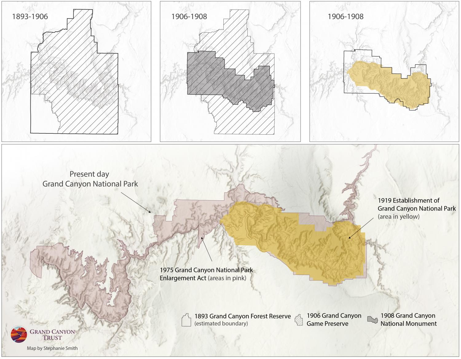 Map of historic boundaries and present day Grand Canyon National Park.