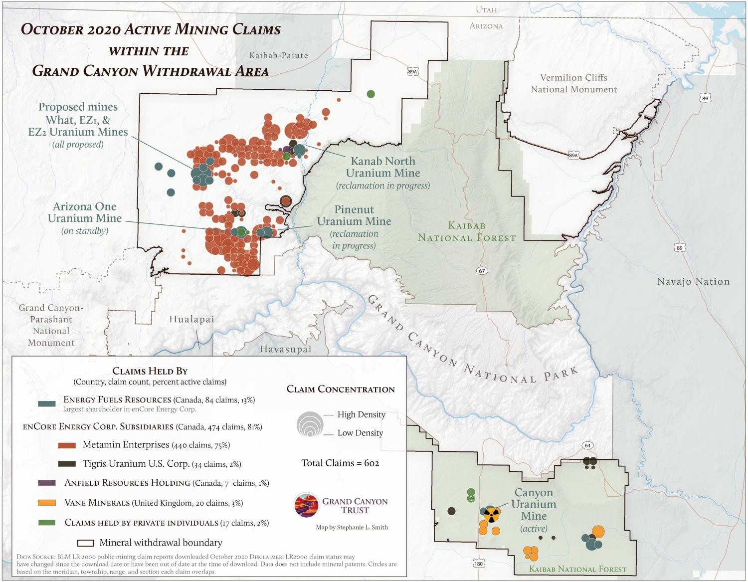 Active mining claims within the Grand Canyon withdrawal area, October 2020