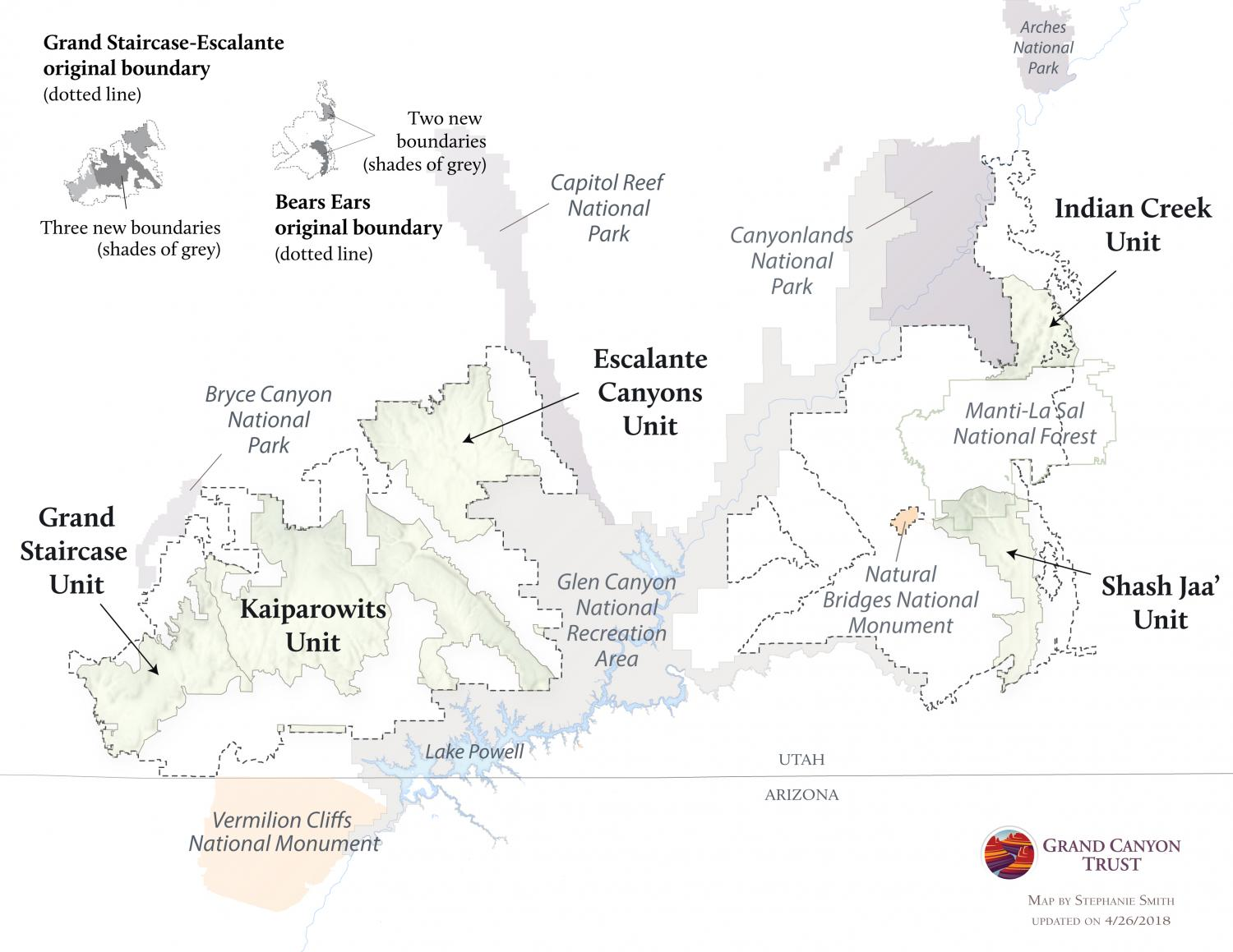 Changes to Grand Staircase-Escalante and Bears Ears National Monument map