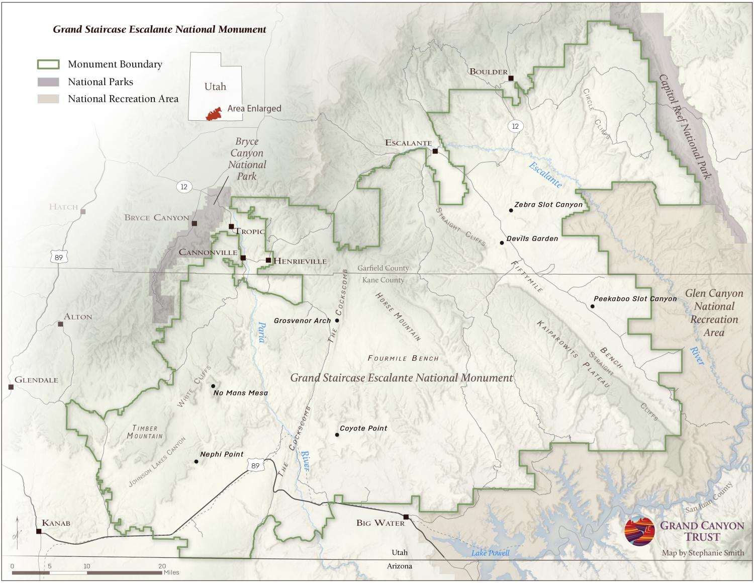 Grand Staircase-Escalante National Monument Map