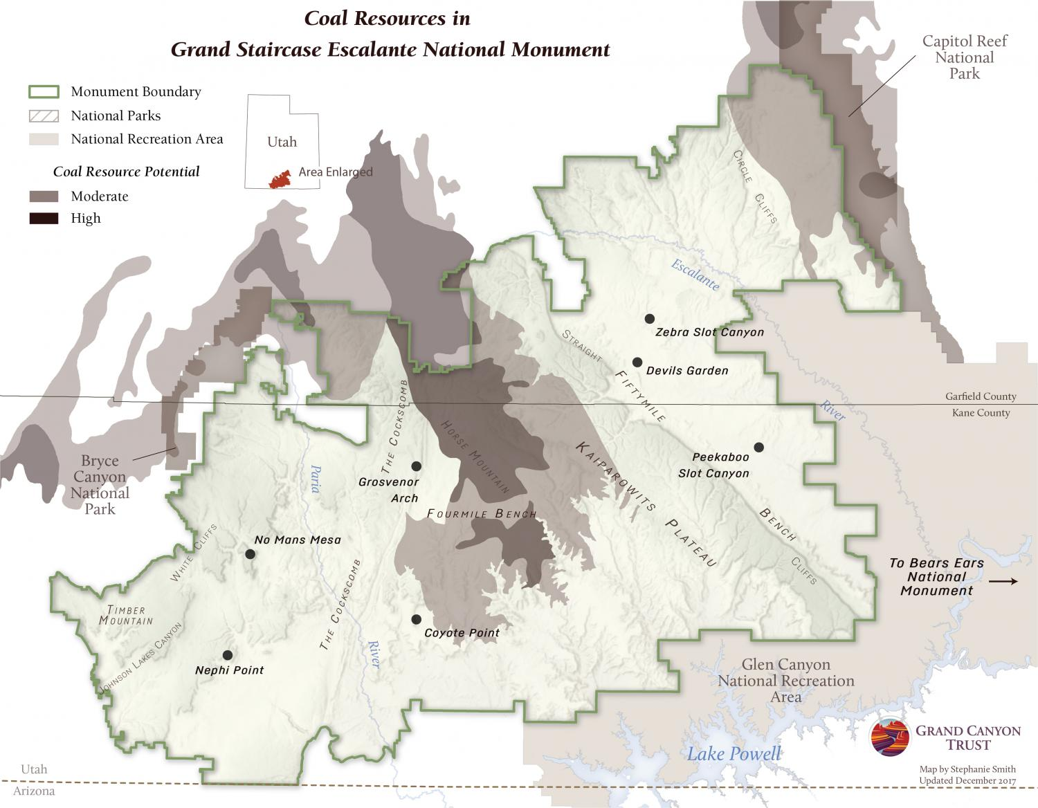 Map of coal resources in Grand Staircase-Escalante National Monument