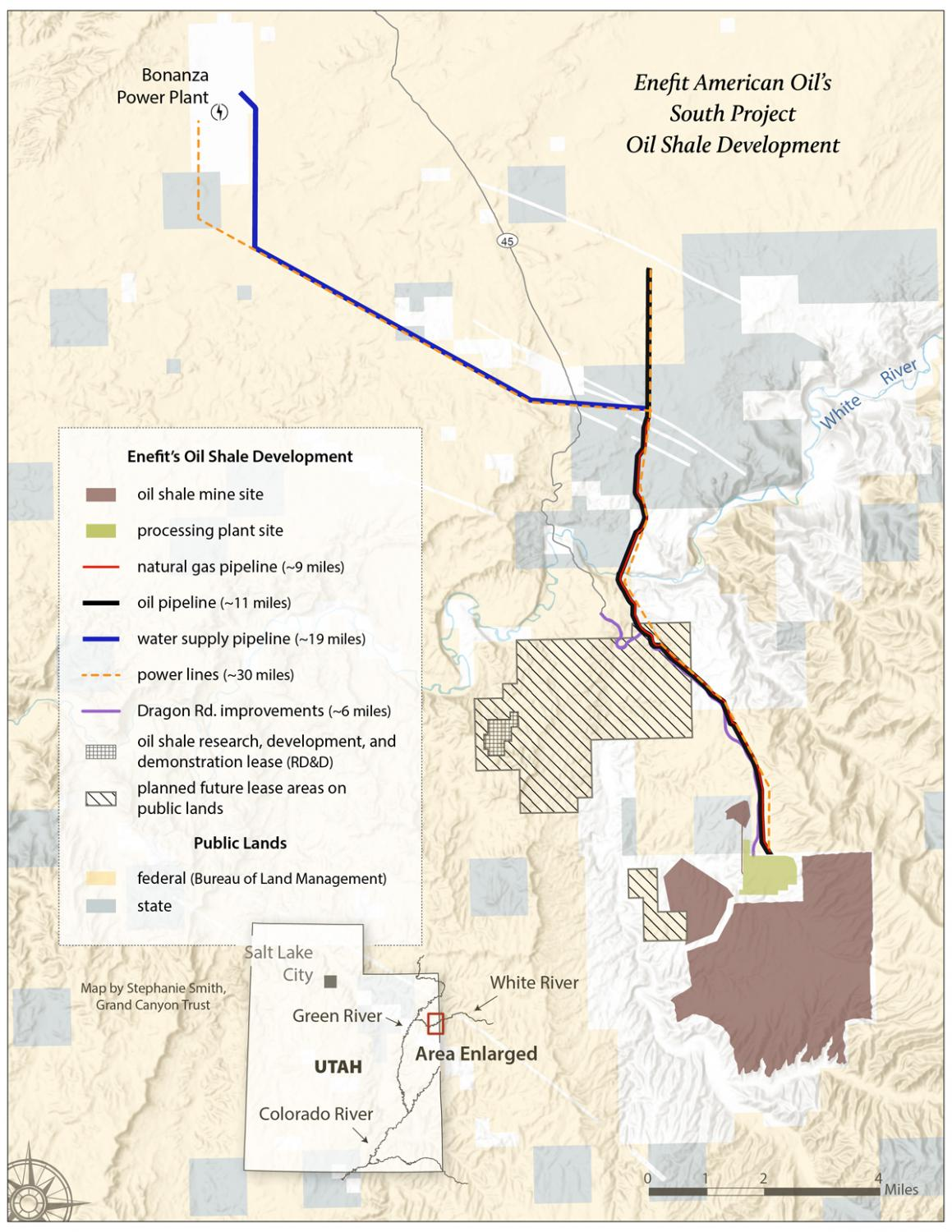 Map of Enefit oil shale project and pipelines, Utah. Credit: Stephanie Smith, Grand Canyon Trust