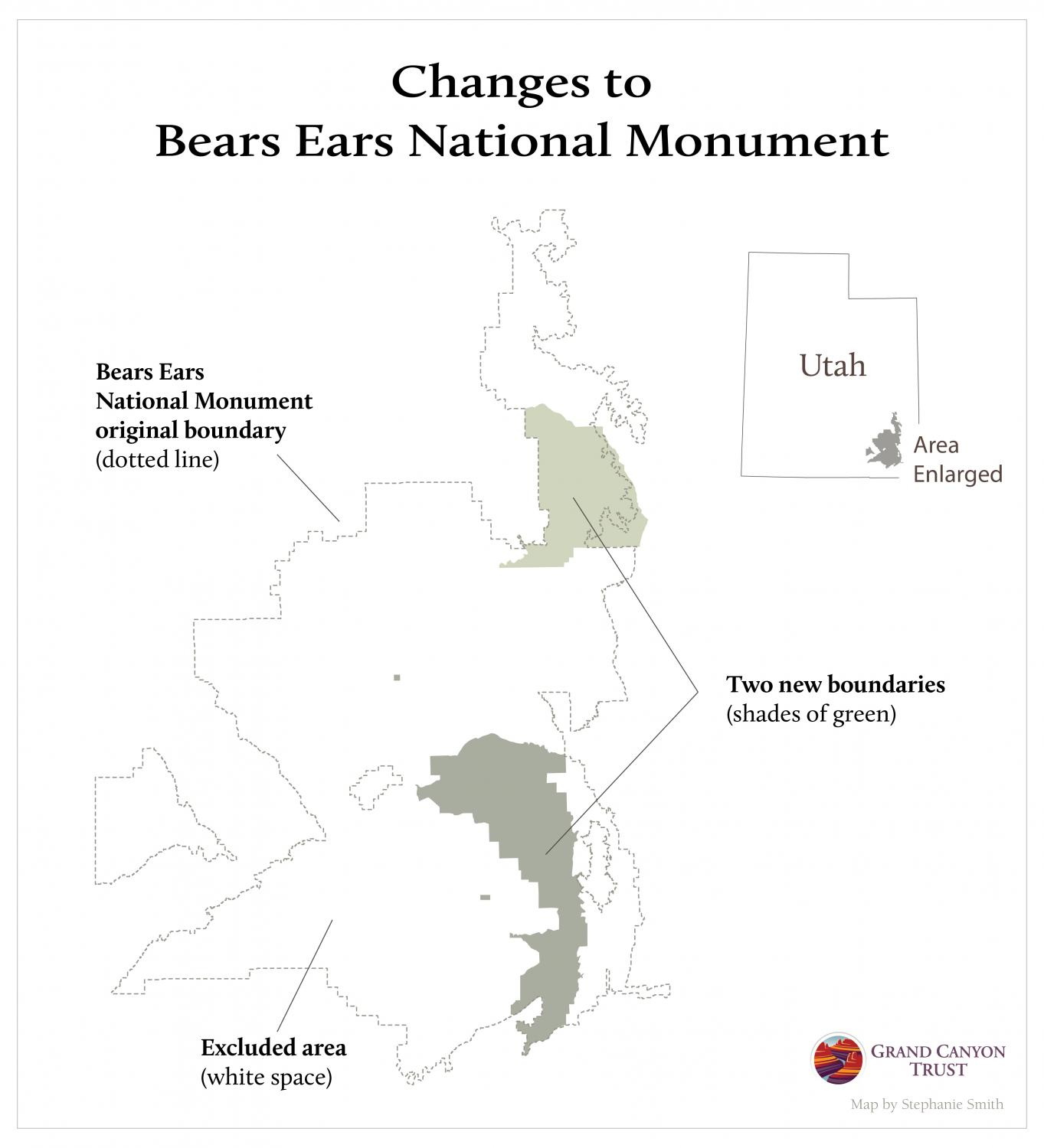 Map showing the excluded areas in Bears Ears National Monument.