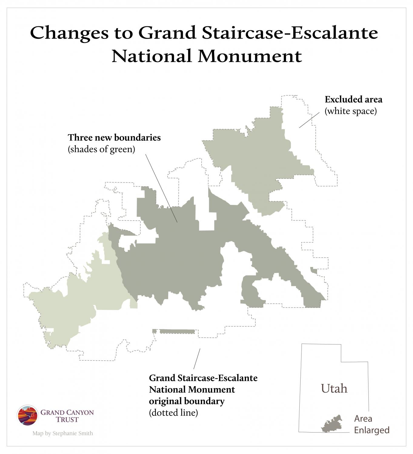 Map showing the excluded areas from Grand Staircase-Escalante National Monument.