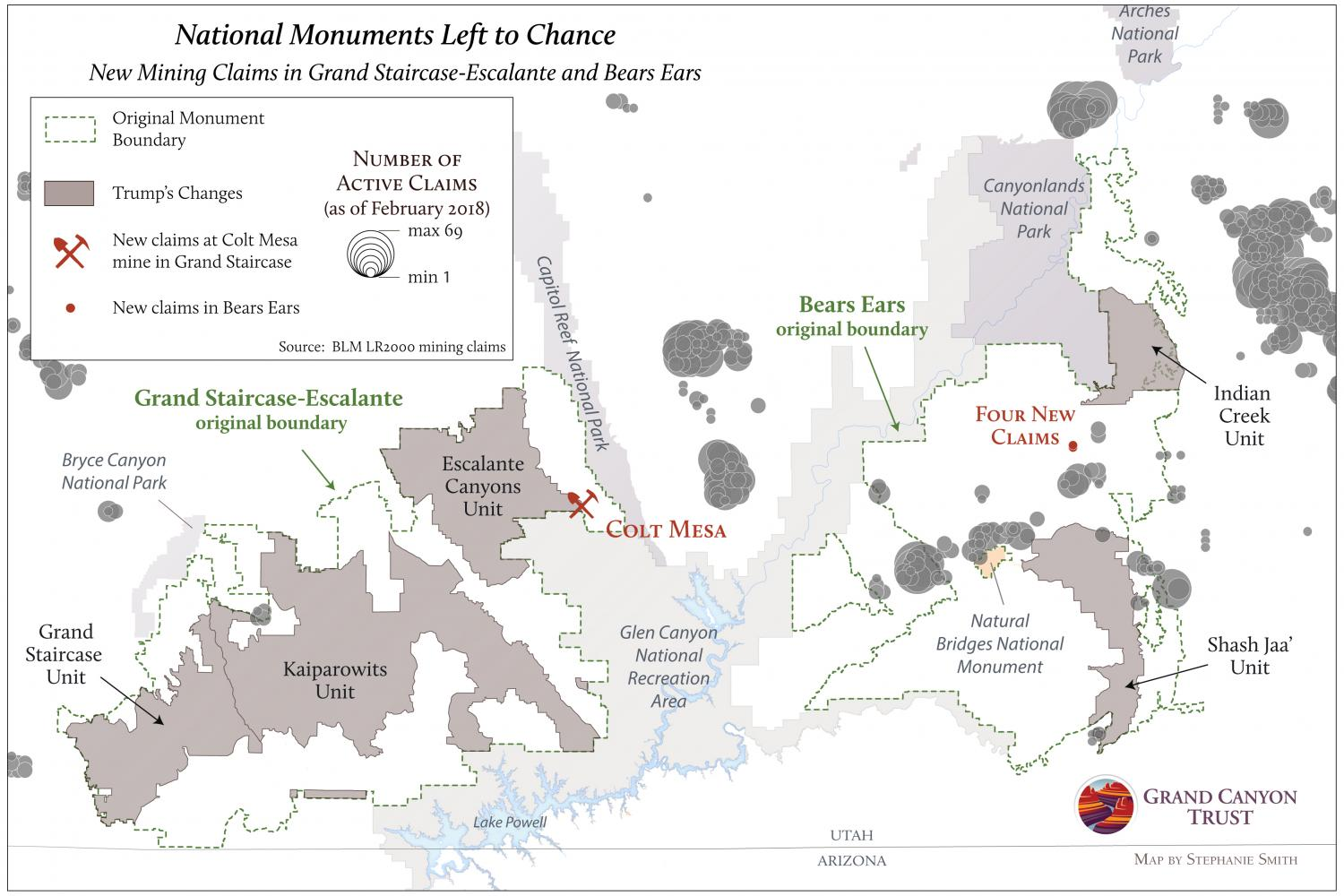 Map of mining claims in national monuments