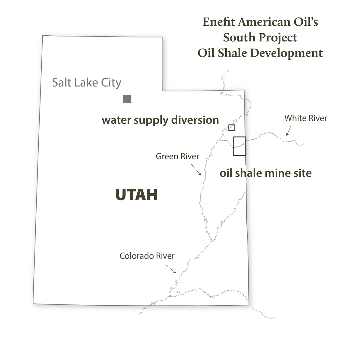 Map of Enefit oil shale project, Utah. Credit: Stephanie Smith, Grand Canyon Trust