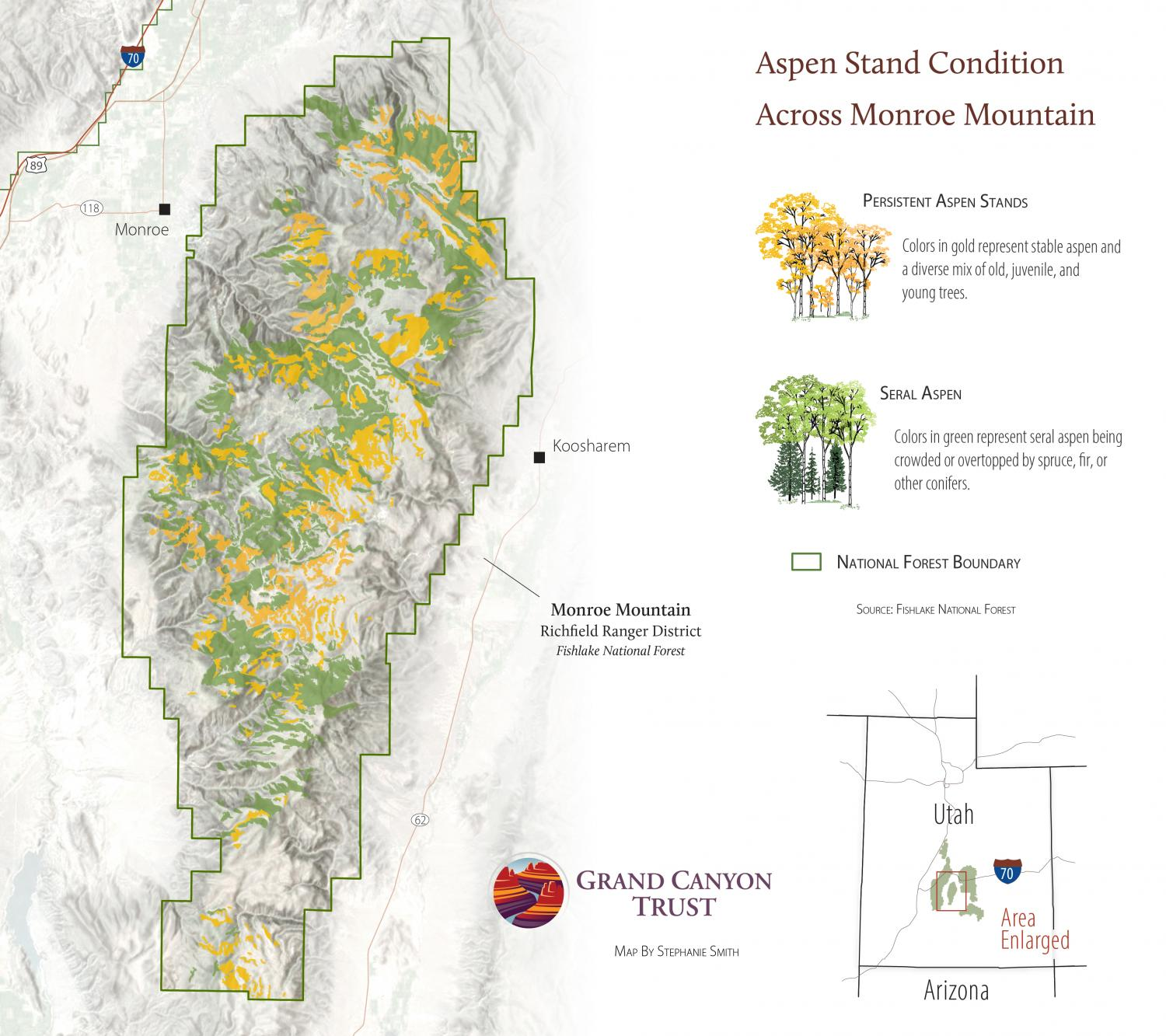 Map of Monroe Mountain aspen stand condition.