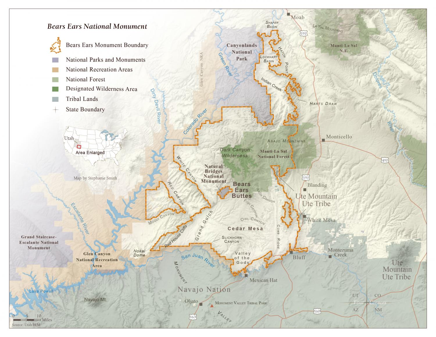 Map of Bears Ears National Monument