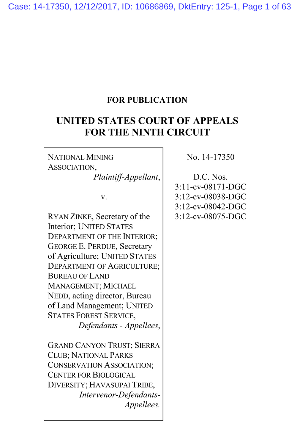 9th Circuit decision upholding Grand Canyon mineral withdrawal, first page